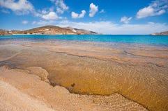 Spiaggia di Ftelia in Mykonos Fotografia Stock Libera da Diritti