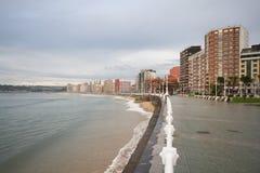 Spiaggia di Gijon Immagini Stock Libere da Diritti