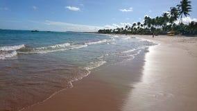 Spiaggia di Guarajuba di pomeriggio, Bahia, Brasile Fotografie Stock Libere da Diritti