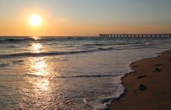 Spiaggia di Hermosa, tramonto di California Fotografia Stock