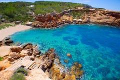 Spiaggia di Ibiza Punta de Sa Galera a San Antonio Fotografie Stock