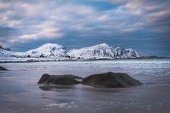 Spiaggia di inverno di Lofoten fotografia stock