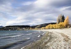 Spiaggia di inverno in Nuova Zelanda Fotografie Stock