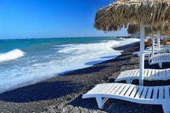 Spiaggia di Kamari, Santorini Immagini Stock