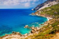 Spiaggia di Kastro, Skiathos, Grecia Fotografie Stock Libere da Diritti
