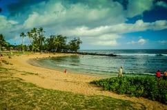Spiaggia di Kauai, isole hawaiane Fotografie Stock Libere da Diritti