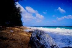 Spiaggia di Kealia, Kauai Fotografie Stock Libere da Diritti