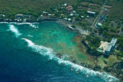 Spiaggia di Keauhou, grande colpo dell'antenna dell'isola Immagine Stock Libera da Diritti