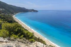 Spiaggia di Kokkinos Vrachos, Leucade, Isole Ionie Fotografia Stock Libera da Diritti