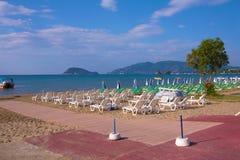 Spiaggia di Laganas della forma di vista di Zacinto, Grecia - di Marathonisi Immagini Stock