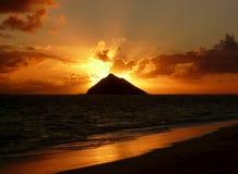 Spiaggia di Lanikai di alba Fotografia Stock Libera da Diritti
