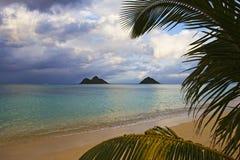 Spiaggia di Lanikai verso la fine del pomeriggio fotografia stock libera da diritti