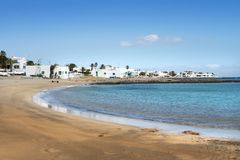 Spiaggia di Lanzarote, Isole Canarie Fotografia Stock
