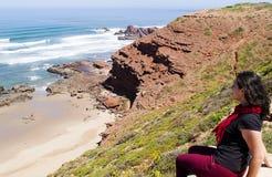 Spiaggia di Legzira, Marocco fotografia stock