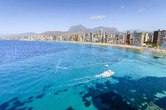 Spiaggia di Levante a Benidorm, Spagna del sud Immagini Stock Libere da Diritti