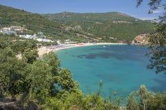 Spiaggia di Lichnos - Parga marino ionico, Prevesa, Epiro, Grecia fotografia stock libera da diritti
