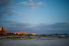 Spiaggia di lido al crepuscolo Fotografia Stock