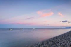Spiaggia di lido di Catanzaro con la vista sul mare ionico Fotografia Stock