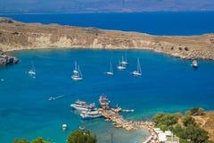 Spiaggia di Lindos a Rhodes Island Rodos Aegean Region, Grecia fotografie stock libere da diritti