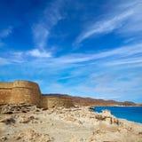 Spiaggia di Los Escullos della fortezza di Almeria Cabo de Gata Fotografia Stock