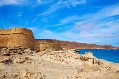 Spiaggia di Los Escullos della fortezza di Almeria Cabo de Gata Immagine Stock