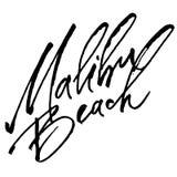 Spiaggia di Malibu Iscrizione moderna della mano di calligrafia per la stampa di serigrafia Immagine Stock