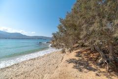 Spiaggia di Marcello - isola di Cicladi - Paroikia marino egeo Pariki immagine stock