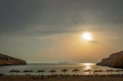 Spiaggia di Matala sull'isola di Creta, Grecia Immagini Stock Libere da Diritti