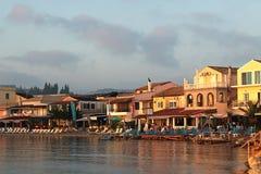 Spiaggia di Messonghi dal mare, Corfù La Grecia immagine stock
