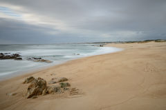 Spiaggia di Miramar vicino ad Oporto, Portogallo Fotografia Stock Libera da Diritti