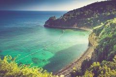 Spiaggia di Mogren vicino a Budua nel Montenegro ad estate Immagini Stock