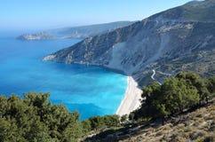 Spiaggia di Myrtos dell'isola di Kefalonia Fotografia Stock Libera da Diritti