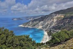 Spiaggia di Myrtos, isola di Kefalonia, Grecia Fotografia Stock Libera da Diritti