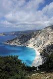Spiaggia di Myrtos, isola di Kefalonia, Grecia Fotografie Stock Libere da Diritti