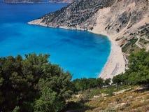 Spiaggia di Myrtos, isola greca di Kefalonia, Grecia Fotografia Stock Libera da Diritti