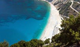 Spiaggia di Myrtos in Kefalonia Fotografia Stock Libera da Diritti