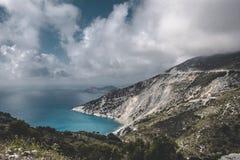 Spiaggia di Myrtos in Kefalonia Immagini Stock Libere da Diritti