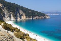 Spiaggia di Myrtos in Kefalonia, Grecia Fotografia Stock Libera da Diritti