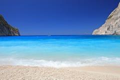 Spiaggia di Navagio sull'isola della Zacinto Fotografia Stock Libera da Diritti