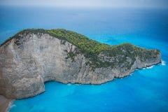 Spiaggia di Navagio in Zacinto, Grecia fotografie stock libere da diritti