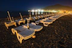 Spiaggia di notte di Budva immagine stock libera da diritti
