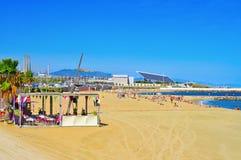 Spiaggia di Nova Mar Bella della La, a Barcellona, la Spagna Fotografie Stock