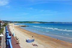 Spiaggia di Overcombe, Weymouth, Dorset fotografie stock