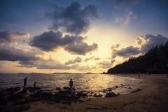 Spiaggia di Pala quando tramonto immagine stock libera da diritti