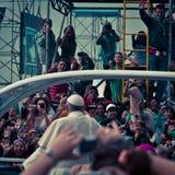 Spiaggia di papa Francis Celebrates Mass On Copacabana Fotografie Stock Libere da Diritti