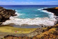 Spiaggia di Papakolea Immagini Stock Libere da Diritti