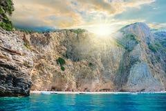 Spiaggia di Paradise del mare ionico a Corfù immagini stock