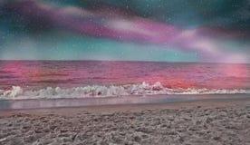 Spiaggia di Paradise nella notte royalty illustrazione gratis