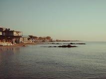 Spiaggia di Paralia Katerini, Grecia marina egea Immagini Stock
