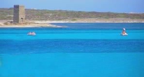 Spiaggia di Pelosa della La in Sardegna - in Italia Fotografie Stock